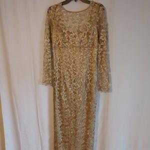 Jessica McLintock gold lace dress